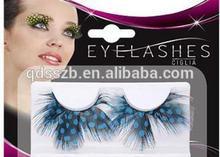 eyebrow extension blue feather eyelash extension fashion style
