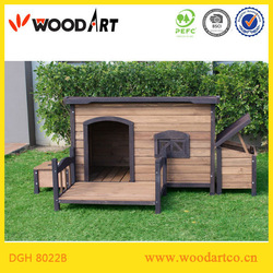 Flat Roof Dog House dog kennel with veranda