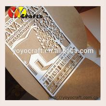 Wedding Decoration elegant and fancy craft paper wedding invitations/laser cut wedding invitations