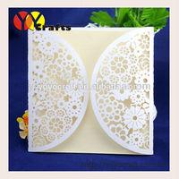 Unique Paper Craft Elegant White Flower Lace Later Cut Wedding Invitation Models