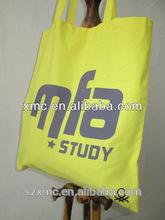 hot sale customized simple design alphabet image promotional yellow shopping bag