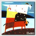 Accueil décoration murale abstraite bande dessinée moutons peinture