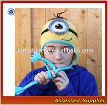 XY845/ Custom handmade crochet cartoon One Eyed yellow minion earflap kids winter hat