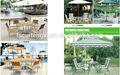 moderno vimini rattan patio mobili da giardino tavolo da pranzo con ombrello esterno