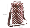 Top Quality Colorful White Spot Round Insulated Wine Bottle Tote Shoulder Bag Carrier