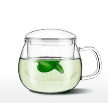 Handmade Clear Glass Tea Mug With Glass Infuser And Lid