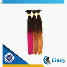 straight brazilian remy micro 100% human ombre hair two tone braiding hair