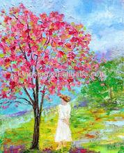 handmade vivid Masterpiece 55633 red tree painting wall decoration