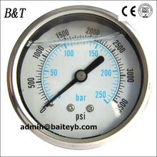 50mm 0- 250 bar/0- 3500 psi stainless steel oil filled wika pressure gauge