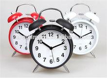 Mini plastic twin bell table alarm clock/cheap plastic alarm clock/double twin bell clock