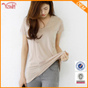 Wholesale women blank loose v neck t shirts with pocket