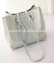 European style women elegant handbags designer silver colour tote bags