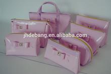 2014 New design fashion Beautiful pink cosmetic bag set