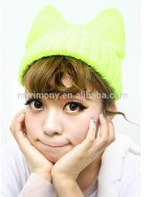 brighten color cat ear knitted women winter hats