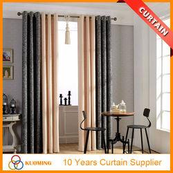 M-204 high quality cotton linen double colors pathwork Europe window curtain models