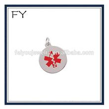 Round Red Enamel Medical Symbol Charm