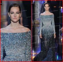 Surmount Gorgeous Beaded Long Sleeve Off Shoulder Evening Dress 2014