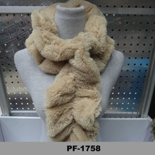 2014 Factory direct sale cheap hand knitted real Rex rabbit fur scarf