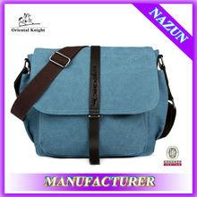 wholesale blue cross body men canvas shoulder bag with leather