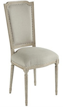Antique white upholstered dining chair,french style high back chair,set of 2
