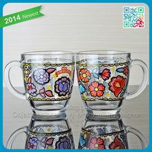 2015 christmas for holiday coffee glass cup beautiful printing glass coffee mugs with handle