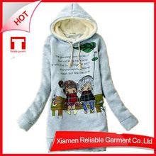 For women gray import print hoodies