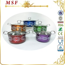 MSF 10pcs color painting belly shape cheap stainless steel flower pots wholesale and dish