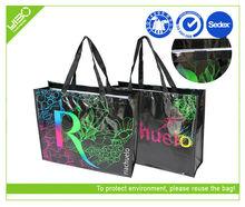 Black laminated non woven colorful shopping bag