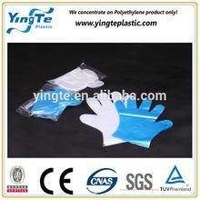 Transparent plastic disposable food handling gloves