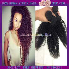 super selling !!! peruvian deep curly wave weave weaves weaving 100% virgin remy human hair extensions