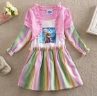 Frozen Girls Dresses 2014 Kids Clothing Long Sleeve Ruffles Rainbow Dress Princess Elsa Anna Children Cotton Colorful Dressy