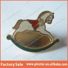 Vintage Rocking Horse Metal Brooch Enamel Christmas Horse Gold Tie Tack Lapel Pin