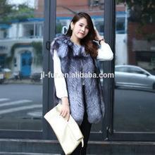 Real Sliver Fox Fur Vest form China,Fox Fur Vest with top Quality Sliver Fox Pelt Plates