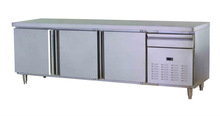 catering equipment guangzhou manufacturer 3 door air cooled stainless steel pizza counter display for restaurant with CE