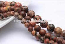 Natural Leopard Skin Jasper Round Shape Stone Loose Beads