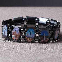 Saint icons hematite bracelet rosary jesus Ann Rita Mary