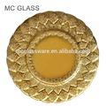 2014 heißer verkauf gold silber blattform farbiges glas ladegerät platte