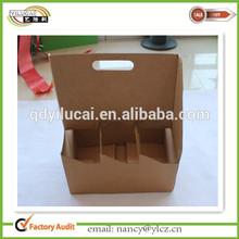 Custom printed cardboard 6 bottle leather wine carrier