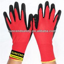 latex coate 13guage nylon gloves working