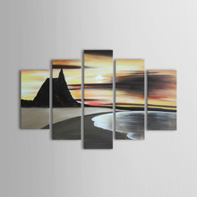 Modern Canvas Painting Landscape Sunset Long Beach Oil Painting for Lobby Decoration Set of 5