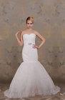 Trumpet/Mermaid Strapless Sweep/Brush Train Lace Wedding Dress[RBL01042]