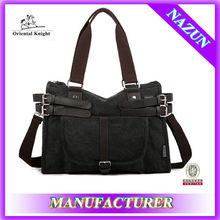 Travel essential dual used canvas black handbag factory stock bags