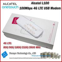 New Arrival Original Unlock LTE FDD 100Mbps Alcatel 4G LTE USB Modem L100 Support LTE 800/900/1800/2100/2600MHz
