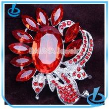 Shiny red crystal bulk brooch for hijab BH-458