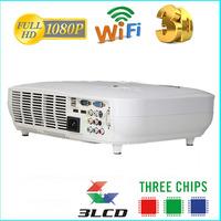 Alibaba hot sale 3000 lumens RGB 3 LED 3 LCD digital 1080P projector media player hd