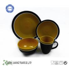 16pcs glaze stoneware cookware with color line