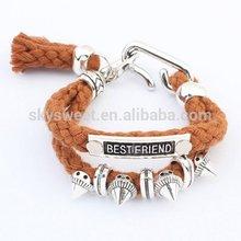 European design fish hook rivet woven bracelet