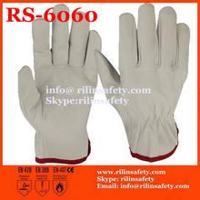 RILIN SAFETY superior Grey sheepskin leather work gloves, grey gray sheep leather working gloves ,EN388,EN420