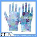 De alta calidad de la pu recubierto de terylene printting guantes de jardín/de poliéster/dacron de trabajo guantes de seguridad