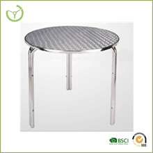 Aluminum alibaba cafe table- round cafe style bistro table four legs